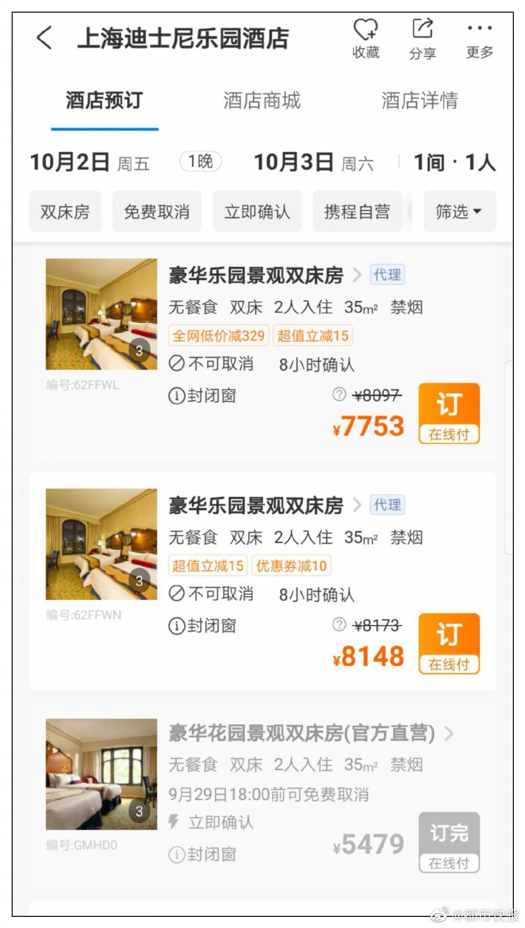 本打算国庆长假后面几天带娃去上海迪士尼玩玩,一查乐园酒店的房价,手机都差点掉了