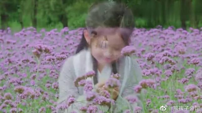 何仙姑在一片花海里赏花, 俨然一个小仙女, 好美啊
