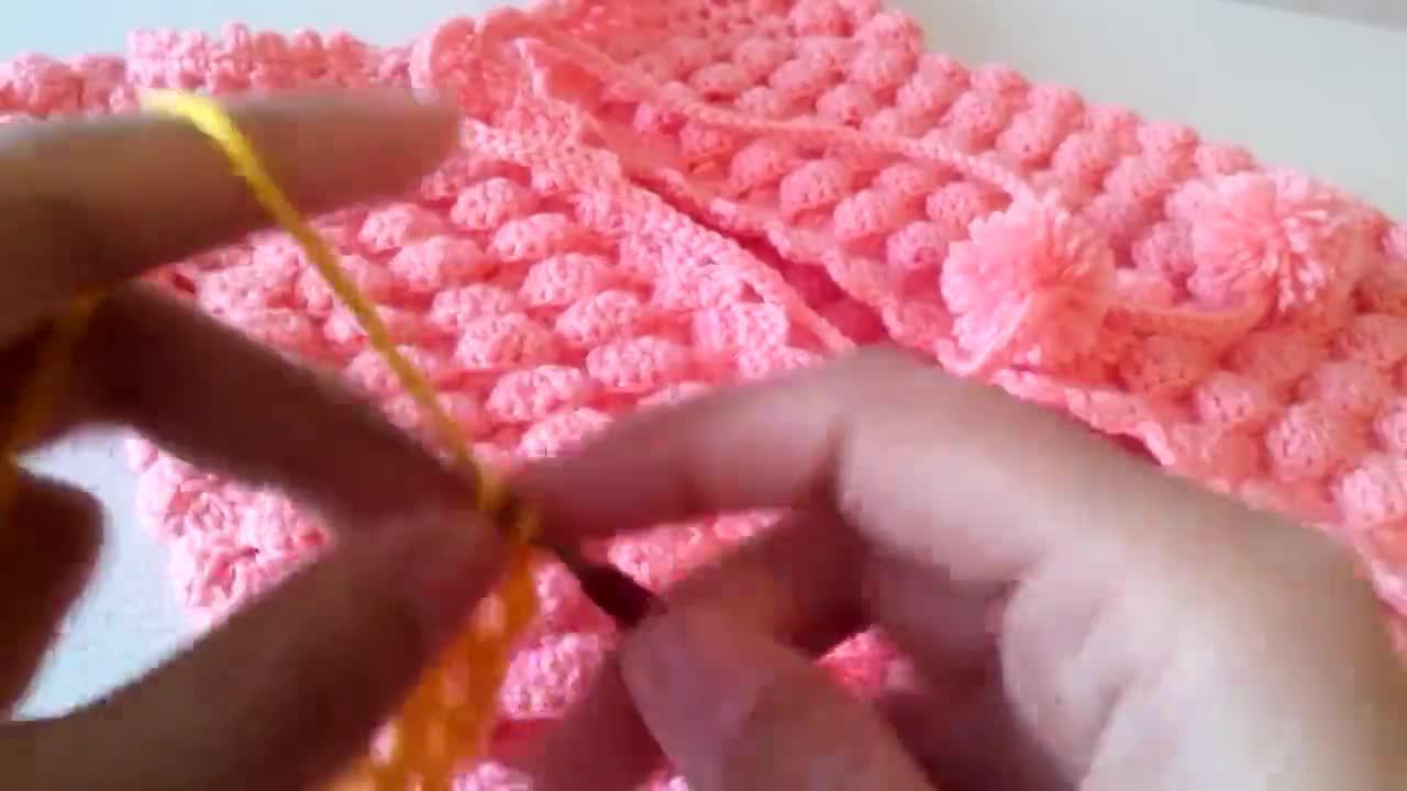 纤维艺术教程——从上向下钩织的宝贝马甲裙