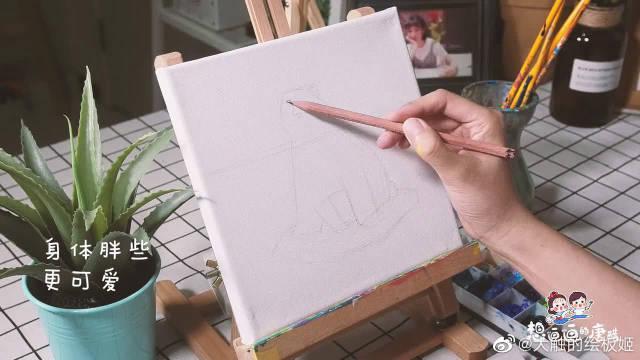 跟着美女老师学画呆萌北极熊油画……