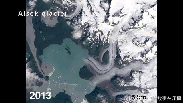 气候变暖的阿拉斯加冰川,从1972年到2019年