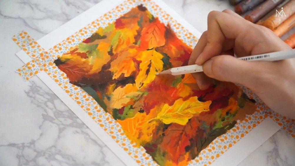 油画棒下的落叶