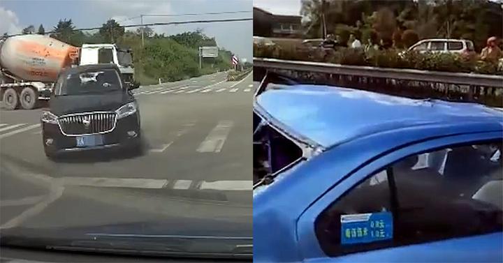 2人亡!监拍:小车路口等灯时被对向黑车撞翻 监控拍下恐怖瞬间