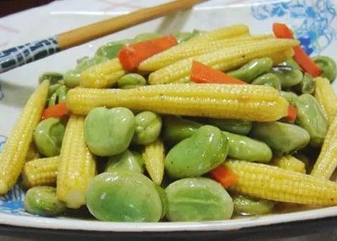 美食精选:蚕豆玉米笋、香辣虾、溜肉段、鱼香肉丝