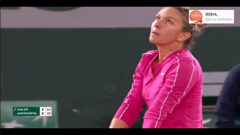 哈勒普横扫阿尼西莫娃 第三轮……