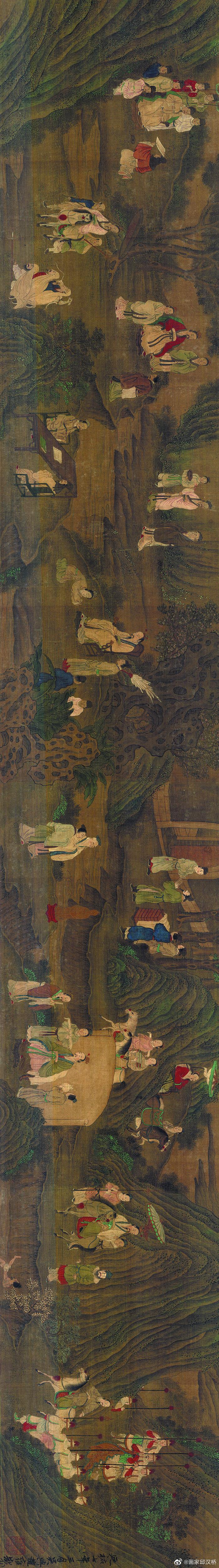 《先贤图卷》,元代,赵雍,纸本设色,纵29.3厘米……