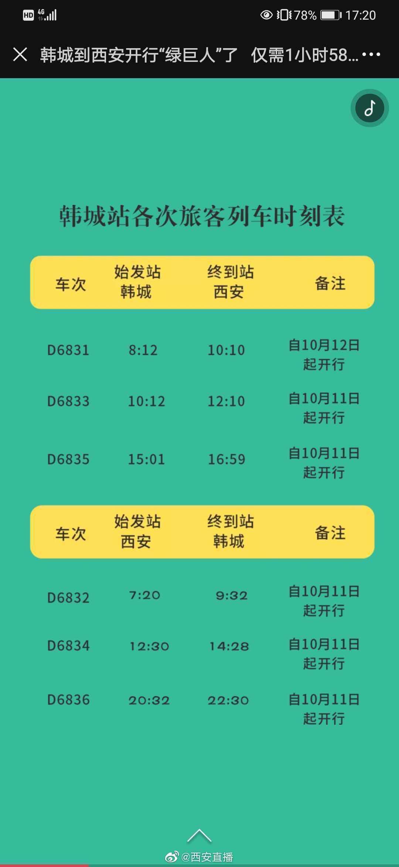 从10月11日起 从Xi到韩城的火车将启
