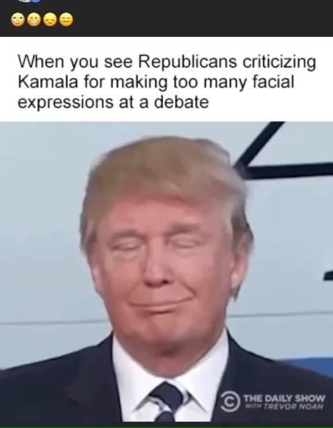 当你看到共和党人批评卡玛拉在辩论中做太多面部表情时……