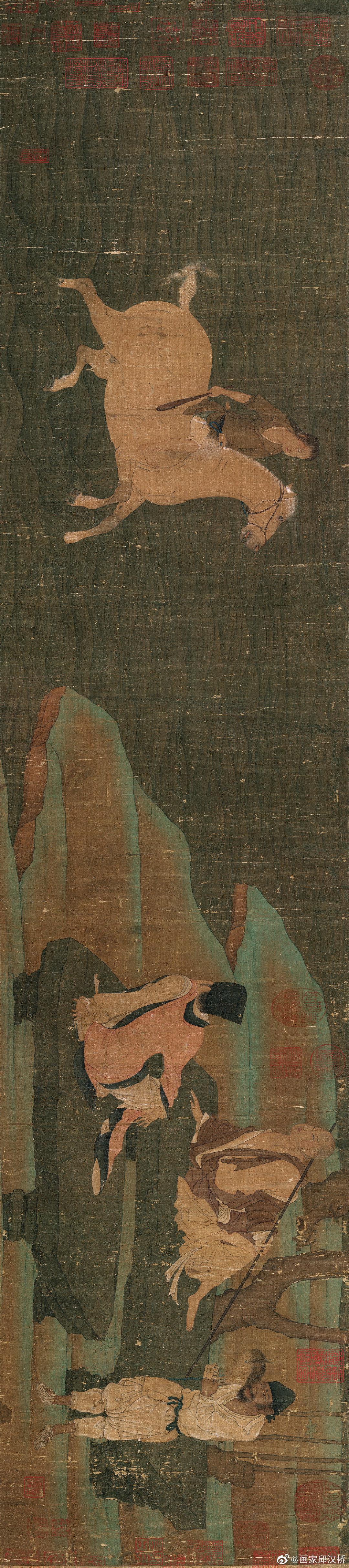 《神骏图》,唐代,韩干,绢本设色,纵27.5厘米、横122厘米……