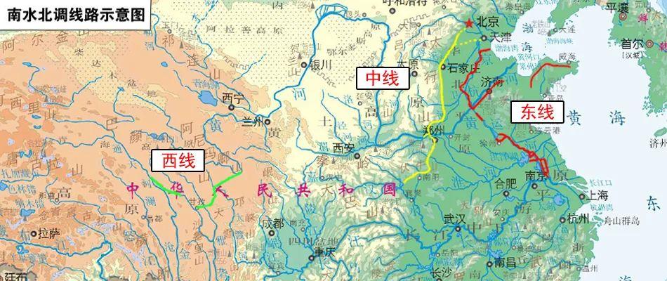 南水北调线路示意图 图源:水利部南水北调工程管理司官网