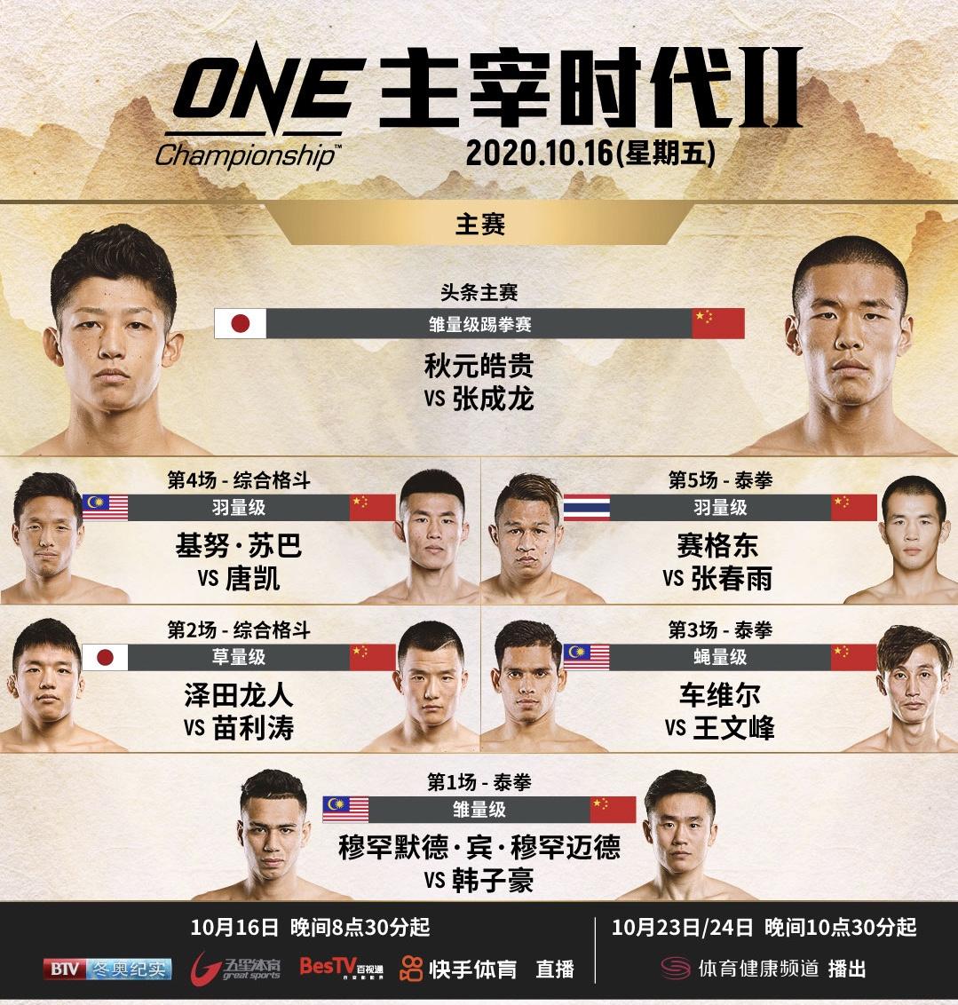 ONE冠军赛首办中外之战专场,张氏兄弟领衔出战图片