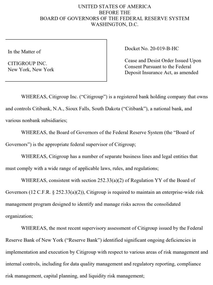 花旗银行乌龙转账9亿美元闹上法庭 现在又被美联储重罚4亿美元