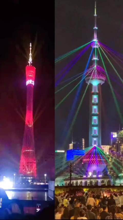 广州塔和东方明珠塔的灯光秀,各有千秋,你更中意哪一个呢