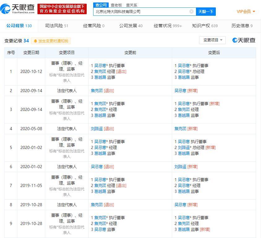 詹克团北京比特大陆科技有限公司退出经理职位 新增吴忌寒为总经理
