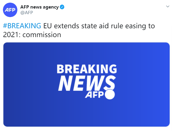 法新社:欧盟放宽国家援助规定至2021年