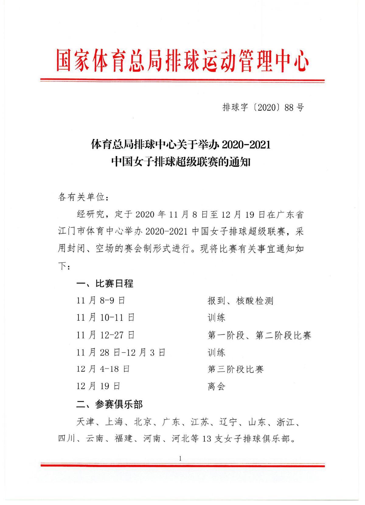 女排超级联赛11月8日开启,13支队伍封闭比赛41天图片