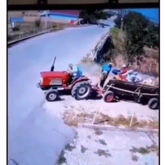 拖拉机碰撞试验来了!真人驾驶员没啥事~