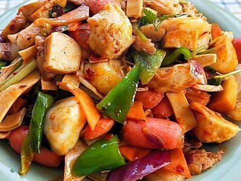 家常小菜:卤汁豆皮,樱桃小萝卜,干锅鱼丸