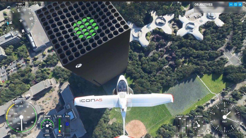 《微软飞行模拟》搞笑Mod:用XSX替换微软总部大楼