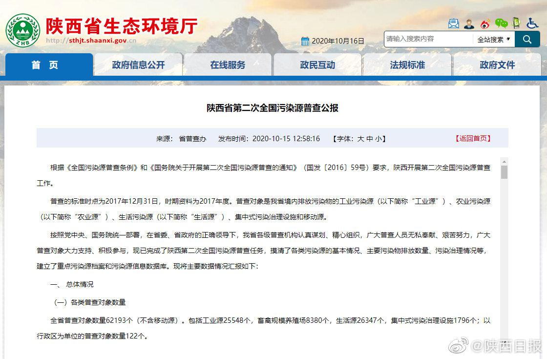 陕西生态环境质量持续向好废水、废气污染物排放量平均分别下降47