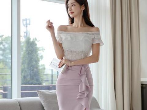 孙允珠,茉莉香芋娇羞浅紫幻色拼搭裙