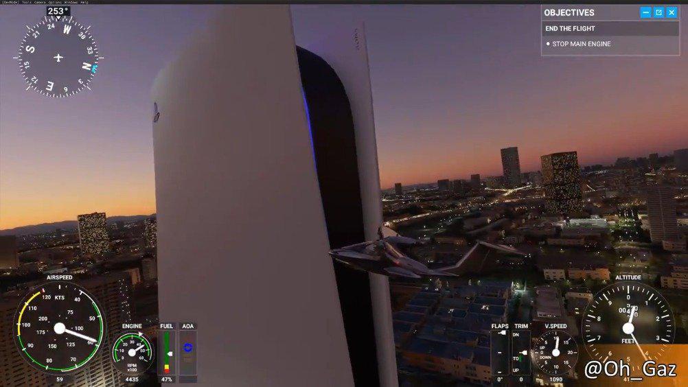 200米高的PS5!《微软飞行模拟》PS5大楼MOD