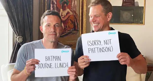 马特达蒙笑话大本:帕丁森抢了你工作 两位好基友做慈善拍卖午餐会