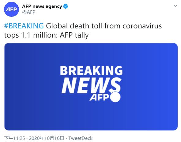 法新社:全球新冠病毒死亡人数已突破110万例