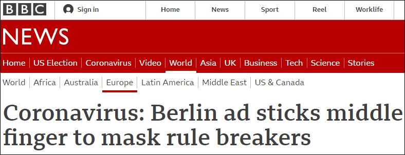 向不戴口罩的人竖中指 柏林旅游局防疫广告引发争议