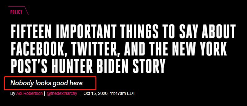拜登被曝丑闻,美国脸书、推特史无前例举措引争议