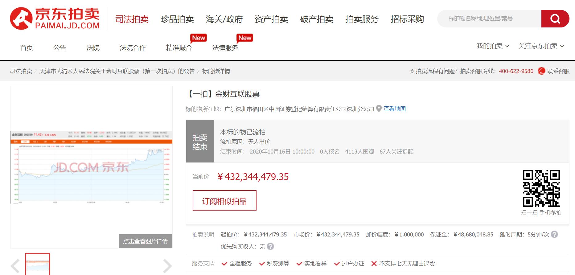 起拍价超4亿,权健束昱辉所持金财互联股份首次拍卖流拍图片