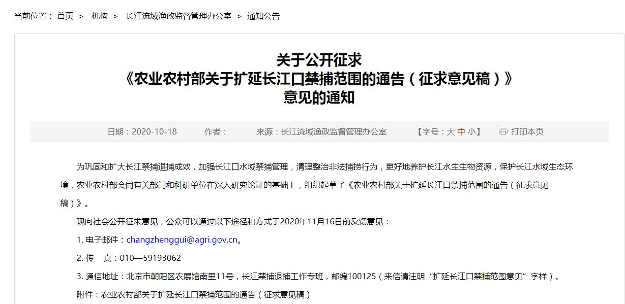 农业农村部拟规定:扩延长江口禁捕范围 明确禁渔期图片