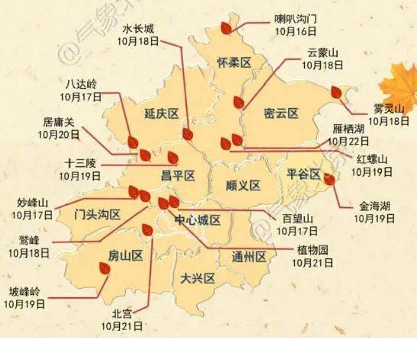 今年首个北京红叶观赏预报出炉,还有红叶观赏地图图片