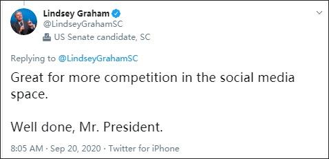 9月20日,格雷厄姆在推特上庆贺特朗普开端赞成TikTok买卖方案