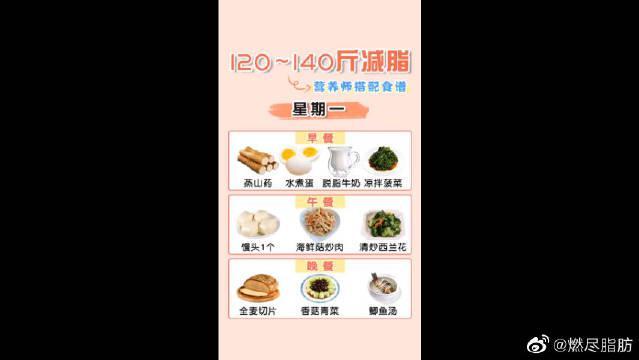 120-140体重人群减脂食谱推荐!不知道怎么吃,每天跟着做!