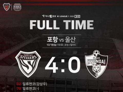 K联赛综述:蔚山现代0-4惨败被全北追上,下轮天王山之战