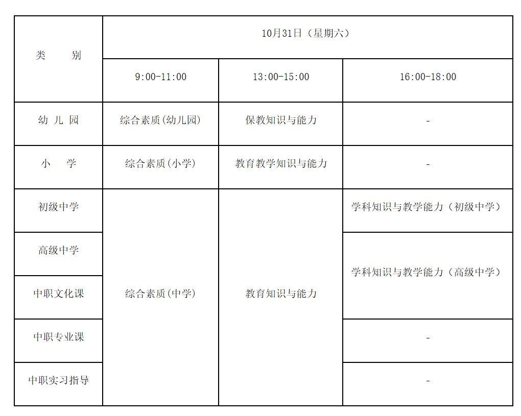 下半年中小学教师资格考试笔试10月31日开考 济宁19个考点