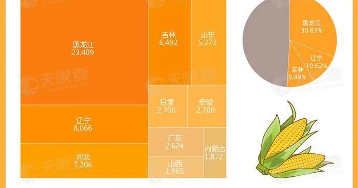 天眼查数据显示国内过半玉米种植加工企业注册于东三省