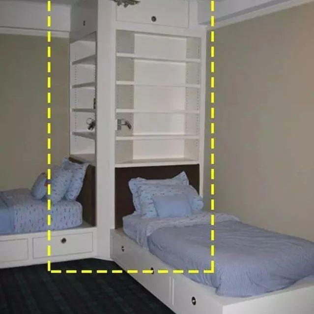 专家表示:儿童房不做上下铺,现在流行2张床靠墙放,中间转角收纳柜