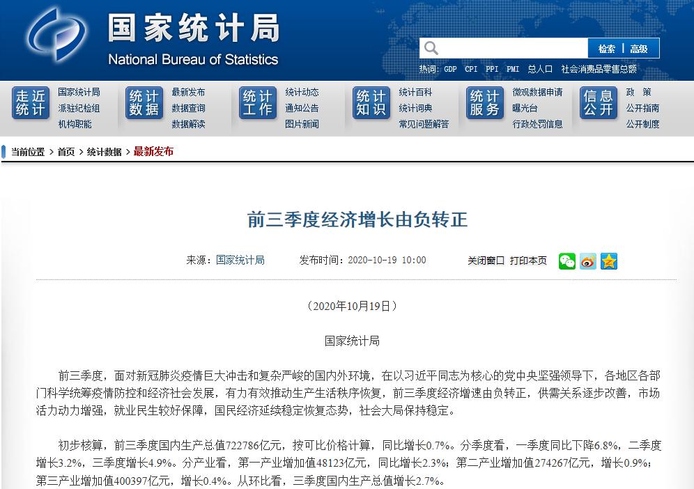 """新京报评前三季度GDP转正:彰显国内经济""""免疫力""""图片"""
