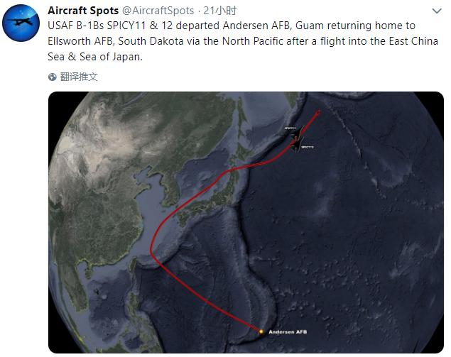 """呵,美轰炸机又在东海划出""""诡异路线""""……图片"""