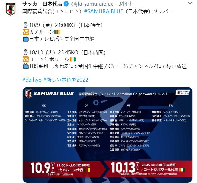 日本男足新一期名单公布,均为在欧洲联赛效力的留洋球员