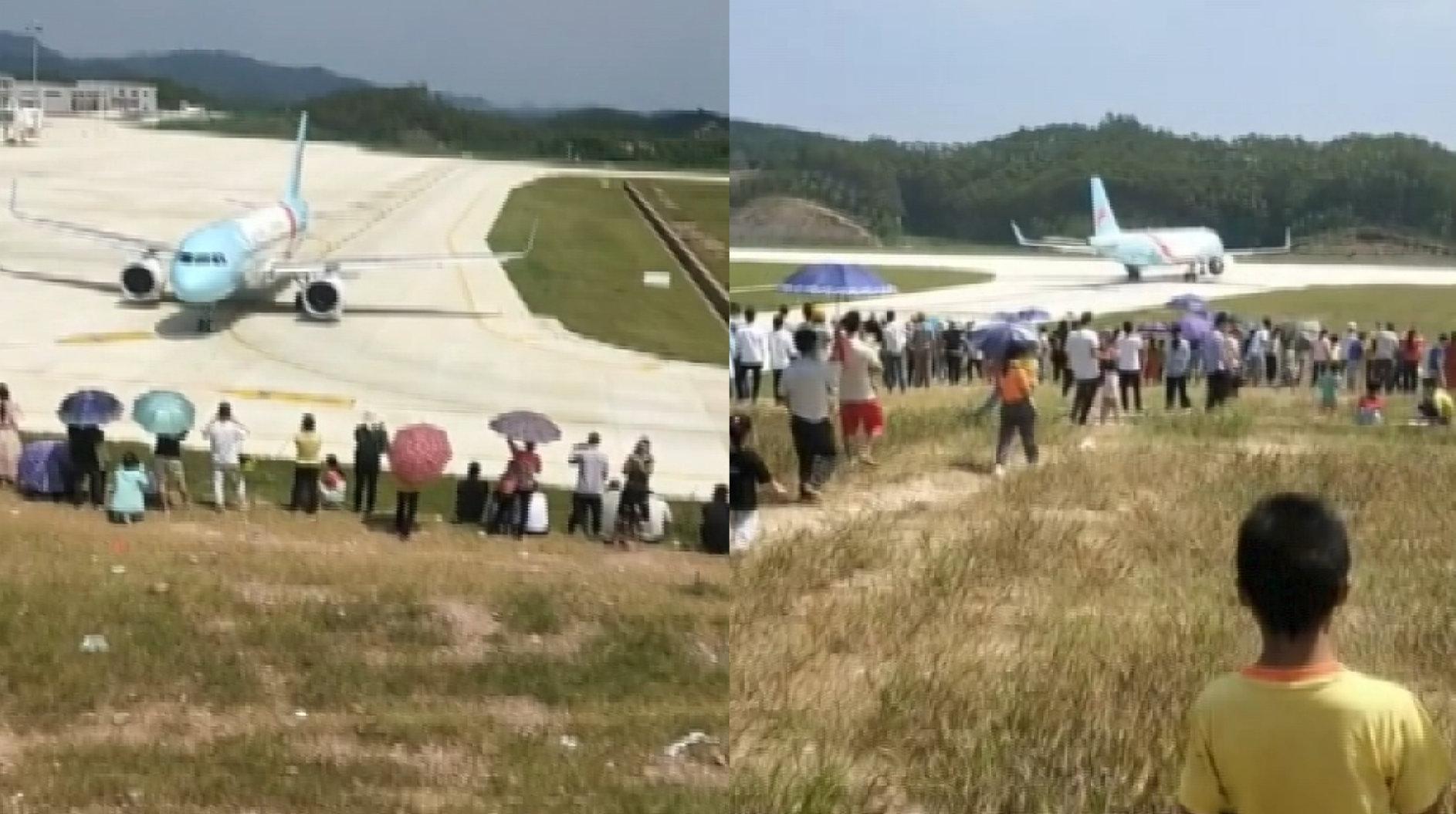 """山头成景区?上千村民围观""""接机"""",机场:有一定影响,正在解决"""