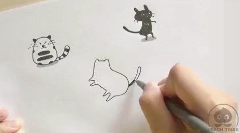 一分钟学会小猫咪简笔画,萌翻了,赶紧马走画起来!!!