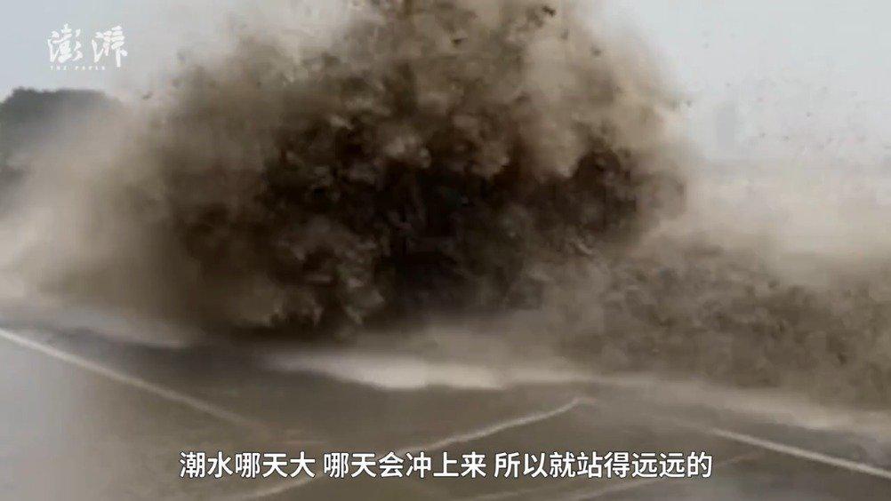游客看钱塘江大潮时手机被冲掉了:还有游客的狗被冲走