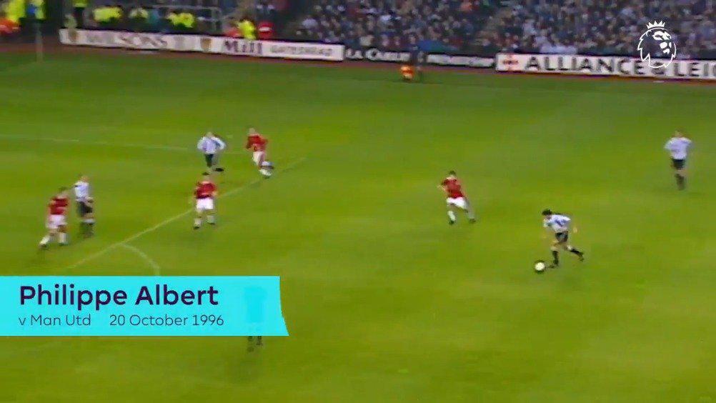 1996年的今天菲利普·阿尔伯特在面对曼联的时候打入了这样一粒神