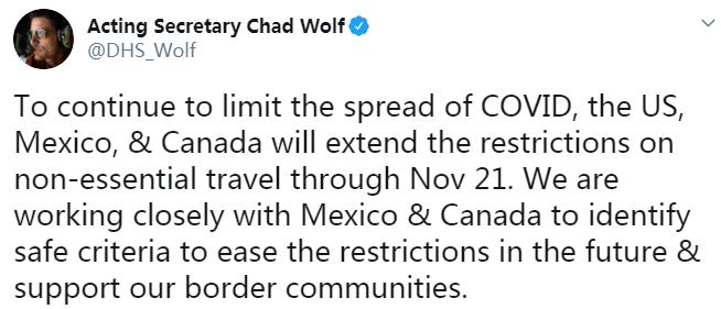 美墨、美加边境关闭时间再次延长