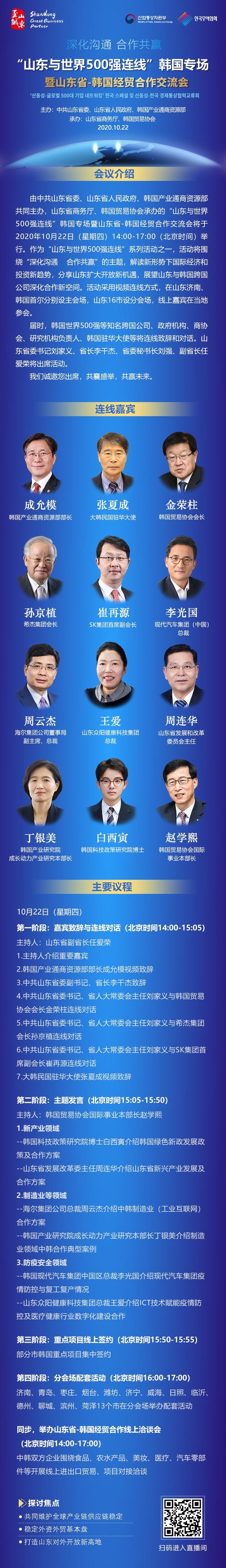 """""""山东与世界500强连线""""韩国专场活动将于10月22日在济南、首尔同期举行"""