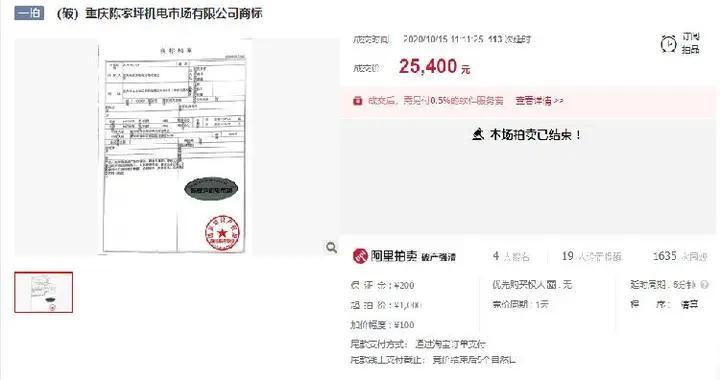 重庆老字号陈家坪机电市场破产 商标拍卖2.54万元成交