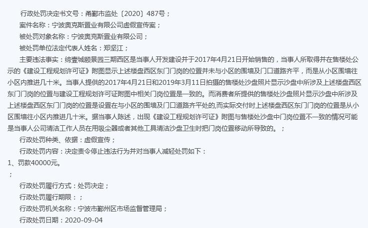 宁波缔壹城楼盘违法虚假宣传遭罚 为奥克斯地产项目